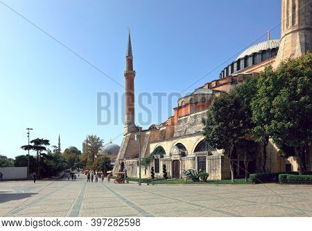View Of Hagia Sophia The Fall During Pandemic. Deserted Square. Sultanahmet Neighbourhood, City Of I