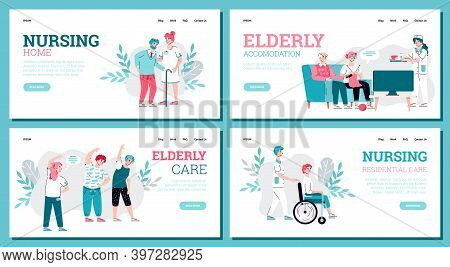 Website Banners Set For Nursing Home Services Advert, Flat Cartoon Vector Illustration. Web Page Moc