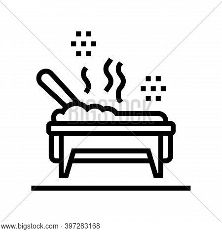 Cooked Meal In Catering Dish Line Icon Vector. Cooked Meal In Catering Dish Sign. Isolated Contour S
