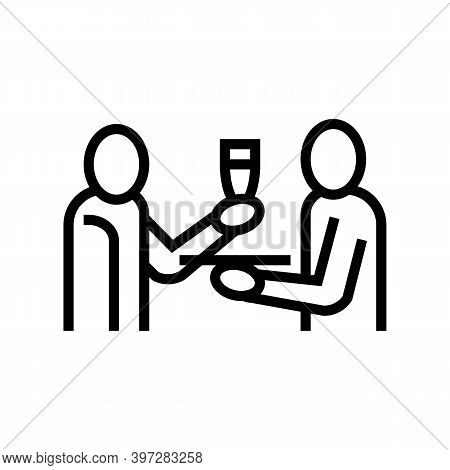 Waiter Offering Drinks Line Icon Vector. Waiter Offering Drinks Sign. Isolated Contour Symbol Black