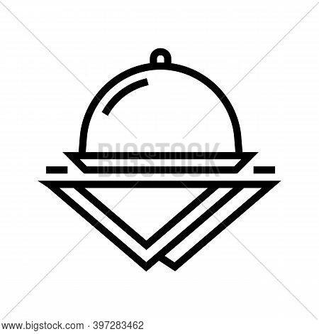 Tray And Napkins Line Icon Vector. Tray And Napkins Sign. Isolated Contour Symbol Black Illustration