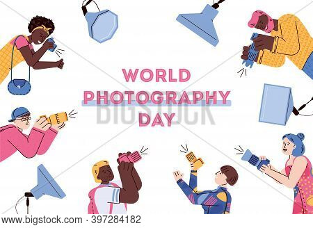 World Photography Day Banner Or Poster Template With Cartoon Photographers Characters, Flat Vector I