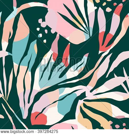 Artistic Seamless Pattern With Abstract Leaves. Modern Design.