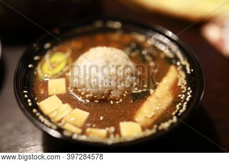 Miso Soup With Rice In A Restaurant
