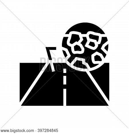 Gravel Crashed Stone Road Glyph Icon Vector. Gravel Crashed Stone Road Sign. Isolated Contour Symbol