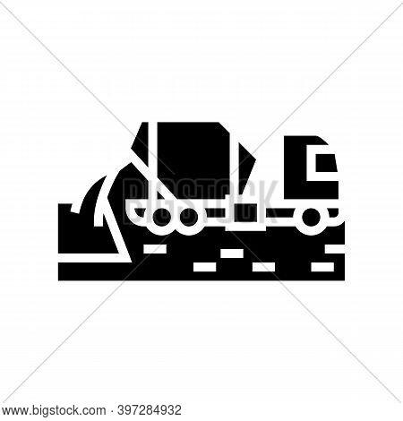 Concrete Mixer Truck Glyph Icon Vector. Concrete Mixer Truck Sign. Isolated Contour Symbol Black Ill