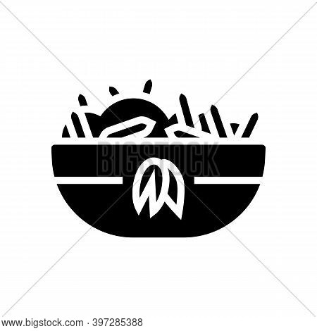 Cooked Oatmeal Breakfast Glyph Icon Vector. Cooked Oatmeal Breakfast Sign. Isolated Contour Symbol B