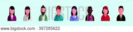 Set Of Avatar Cartoon Icon Design Template With Various Models. Modern Vector Illustration Isolated
