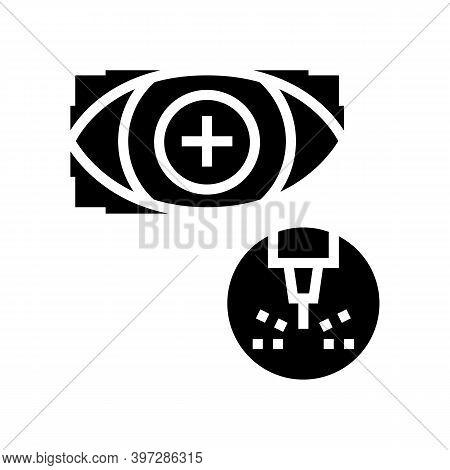 Eye Vision Laser Treatment Glyph Icon Vector. Eye Vision Laser Treatment Sign. Isolated Contour Symb