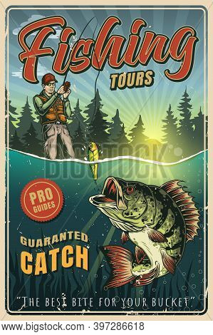 Fishing Colorful Vintage Poster With Fisherman In Baseball Cap Caught Big Perch On Lure Vector Illus