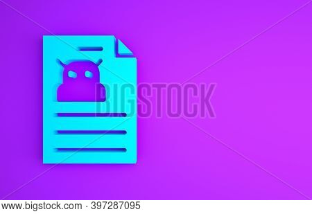Blue Technical Specification Icon Isolated On Purple Background. Technical Support Check List, Team
