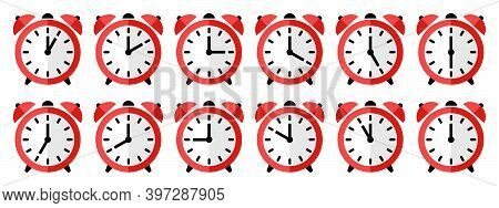 Alarm Clock Vector Icon. Set Of Round Alarm Clocks Faces Showing Different Time. Time Sumbol Isolate