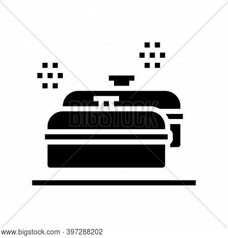 Pans Kitchen Ware For Cooking Glyph Icon Vector. Pans Kitchen Ware For Cooking Sign. Isolated Contou