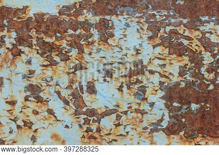 Rust.old Blue Painted Wall With Rust Spots.textured Rusty Metal Background. Rust Stains Through The