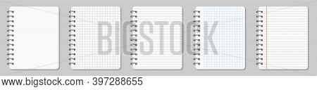 Collection Of Various White Papers Notebook For Your Text. Blank Pages Of A Diary Notebook With Marg