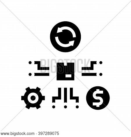 Manufacturing And Selling Process Glyph Icon Vector. Manufacturing And Selling Process Sign. Isolate