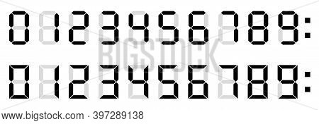 Calculator Digital Numbers. Digital Clock Number. Set Black And White Electronic Figures. Counter, C