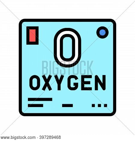 Chemical Element Oxygen 02 Color Icon Vector. Chemical Element Oxygen 02 Sign. Isolated Symbol Illus