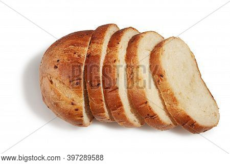 Fragrant Delicious Bread With Fried Onions And Crispy Crust On A White Background