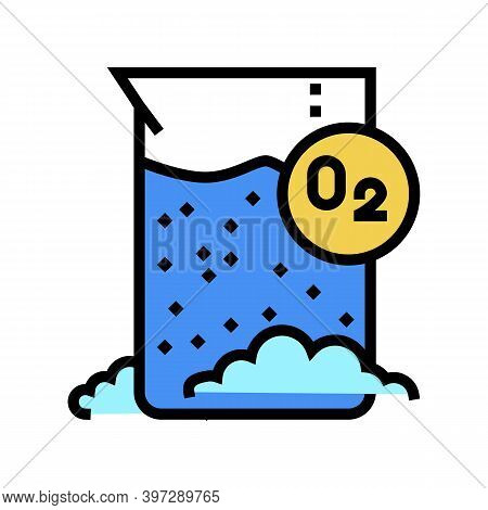 Chemical Reaction On Oxygen Color Icon Vector. Chemical Reaction On Oxygen Sign. Isolated Symbol Ill