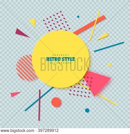 Abstract Background With Geometric Shapes In Cut Paper Art. Memphis Style Music Cover 80s 90s. Creat