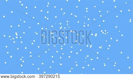 Blue-white Vector Texture, Lots Of Small White Dots Randomly Placed On A Blue-blue Background, Snow,