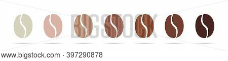 Set Of Coffee Bean Vector Illustration . Coffee Beans Of Different Colors. Beans Isolated On White B