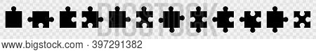 Shapes Of Jigsaw Pieces. Set Of Puzzle Flat Vector Icon. Black Element Puzzle Pieces. Pictograms Iso