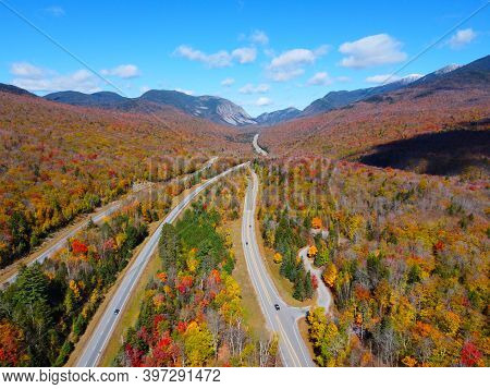Interstate Highway I-93 Across Franconia Notch Between Cannon Mountain And Mount Lafayette With Fall