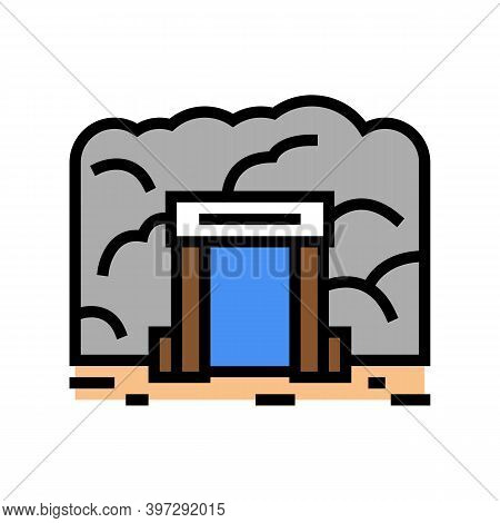 Mine Entry Color Icon Vector. Mine Entry Sign. Isolated Symbol Illustration