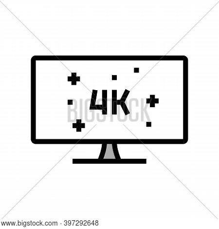 4k Resolution Computer Display Color Icon Vector. 4k Resolution Computer Display Sign. Isolated Symb