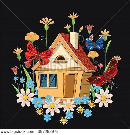 Old Cozy House. Fabulous Cartoon Object. Cute Childish Style. Ancient Dwelling. Tiny, Small. On A Ni