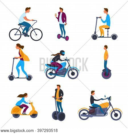 Cartoon Color Characters People Riders Male And Female Concept Set Flat Design Style. Vector Illustr