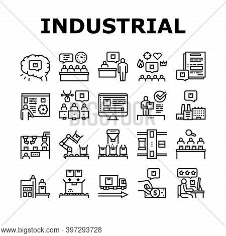 Industrial Process Collection Icons Set Vector. Industrial Production And Manufacturing, Creative Co