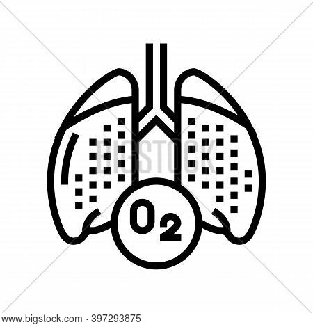 Lungs With Oxygen Line Icon Vector. Lungs With Oxygen Sign. Isolated Contour Symbol Black Illustrati