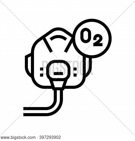 Pilot Oxygen Facial Mask Line Icon Vector. Pilot Oxygen Facial Mask Sign. Isolated Contour Symbol Bl