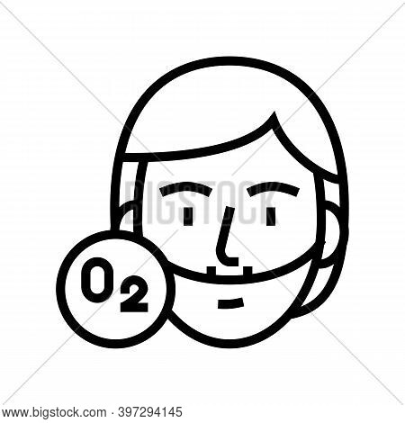 Human Breath Oxygen Tool Line Icon Vector. Human Breath Oxygen Tool Sign. Isolated Contour Symbol Bl