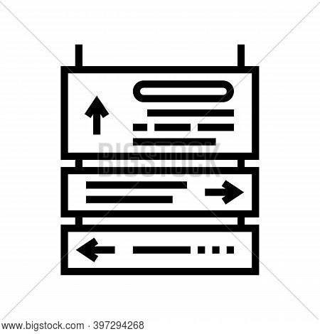 Direction Signpost Line Icon Vector. Direction Signpost Sign. Isolated Contour Symbol Black Illustra