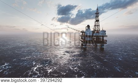 Offshore drilling rig on the sea. Oil platform for gas and petroleum or crude oil. Industrial. 3D illustration