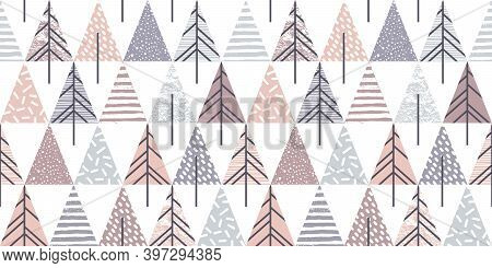 Abstract Geometric Seamless Repeat Pattern With Christmas Trees. Trendy Hand Drawn Textures. Modern