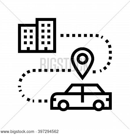 Car Direction Tracking At Home Line Icon Vector. Car Direction Tracking At Home Sign. Isolated Conto