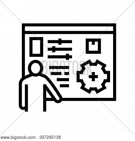 Box Characteristics Presentation Line Icon Vector. Box Characteristics Presentation Sign. Isolated C