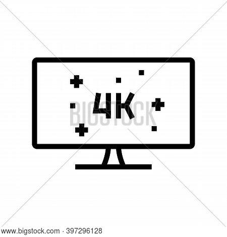 4k Resolution Computer Display Line Icon Vector. 4k Resolution Computer Display Sign. Isolated Conto