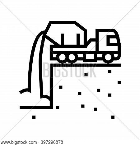Pouring Foundation Line Icon Vector. Pouring Foundation Sign. Isolated Contour Symbol Black Illustra