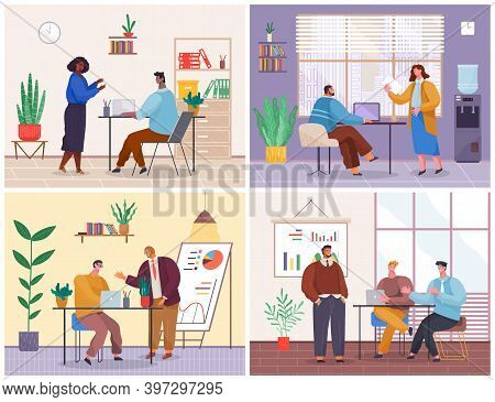 Office Staff, Work And Communication. Head And Subordinates. Various Workers, Managers Team. Top Man