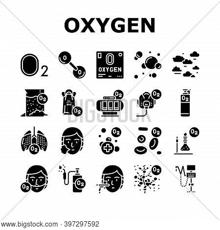 Oxygen O2 Chemical Collection Icons Set Vector. Diatomic Molecule And Oxygen Bubbles, Blood And Wate