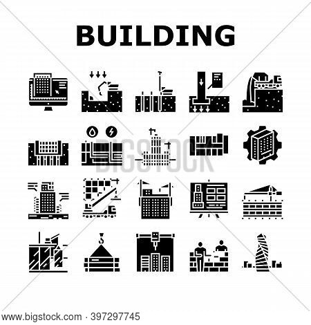 Building Construction Collection Icons Set Vector. Excavation And Footing Reinforcement, Columns Cas