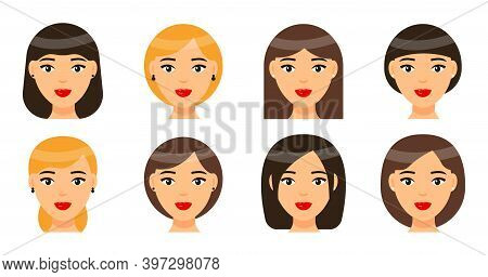 Set Of Women Types Of Haircuts Or Hairstyles. Brunette, Brown-haired And Blonde Girls. Avatars Of Be