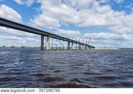 Russia June 25, 2020 The Volga River Near Kazan, View Of The Zaymishchensky Bridge Across The Volga,