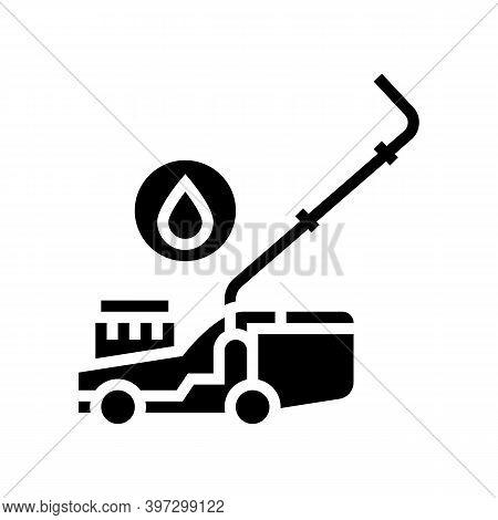 Gasoline Lawn Mower Glyph Icon Vector. Gasoline Lawn Mower Sign. Isolated Contour Symbol Black Illus